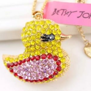 NWT•Betsey Crystal Yellow Ducky Long Necklace